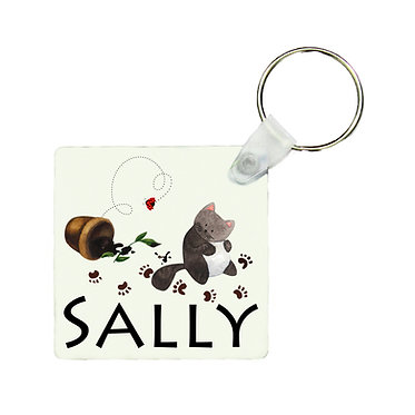 Personalized square keyring naughty kitty with name image front view