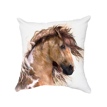 White cushion cover with zip wild paint horse image front view