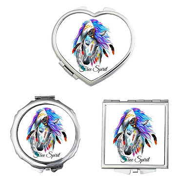 Compact mirrors in 3 shapes heart, round and square white spirit horse image front view