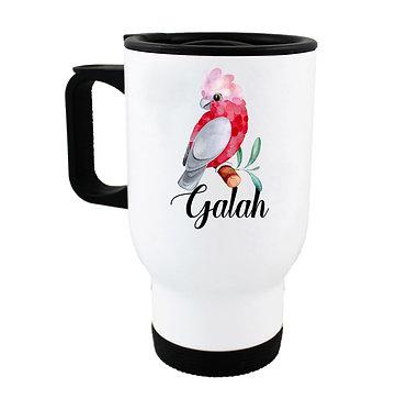 Travel mug Australian Galah image front view