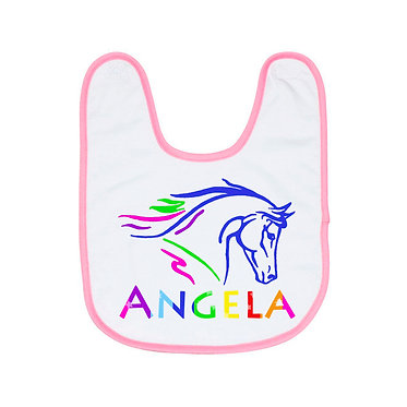Babies bib personalised white with soft pink trim and horse head image in hot pink front view