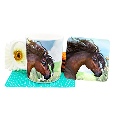 Beautiful horse ceramic coffee mug and coaster set front view