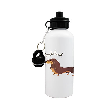 Dog themed sports water bottle with Dachshund dog image on front view lid on