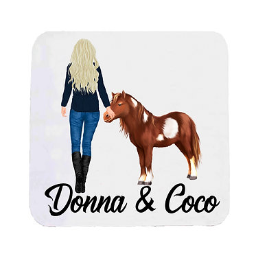 Personalised neoprene drink coaster sets personalised blond haired girl and mini pony image front view