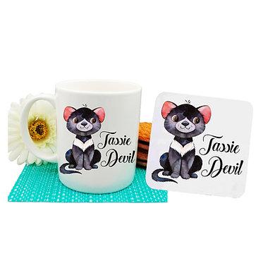 Ceramic coffee mug and drink coaster set Australian Tasmanian Devil image front view