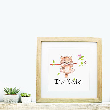 Square wood picture frame cute kitty hanging on branch image front view