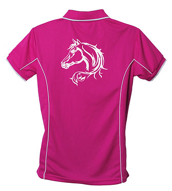 Hot pink white image horse head with scroll polo shirt back view