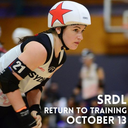 Close up of jammer wearing SRDL uniform ready to skate.