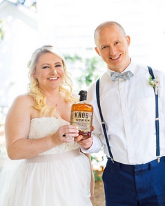 Cary NC wedding couple bury the bourbon