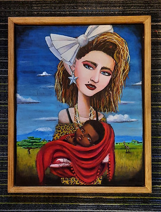 """MADONNA AND CHILD"" 16x20"" acrylic on canvas. Custom handmade Frame  18x20"""