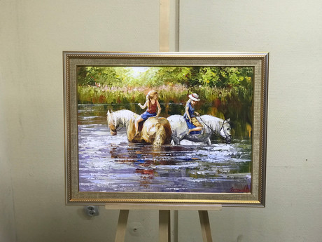 прогулка  девченок на лошадях