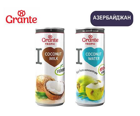 Упаковка Кокосовые напитки Grante. Ж/б. 250 мл (Кокосовая вода и молоко)