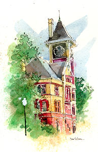 New Bern City Hall WatercolorWedding Painting, Dan Nelson,