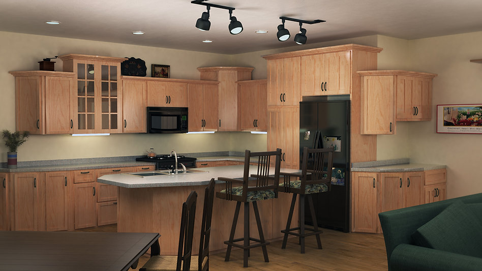 3D Studio Max and Vray Interior Model and Rendering of a Cottage House Kitchen