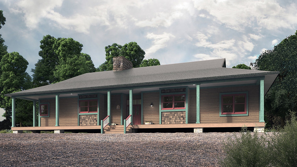 3D Studio Max and Vray Exterior Model and Rendering Showing the Front Porch of a Cottage in the Woods Surrounded by Trees
