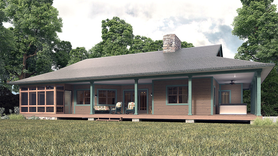 3D Studio Max and Vray Exterior Model and Rendering Showing the Back Porch of a Cottage in the Woods Surrounded by Trees