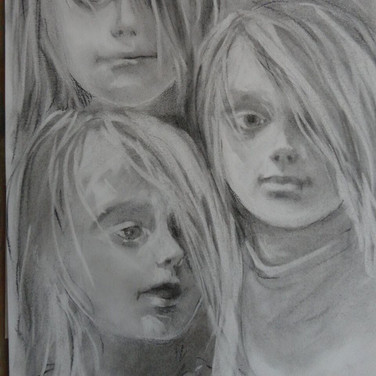 Sophie portrait in  charcoal