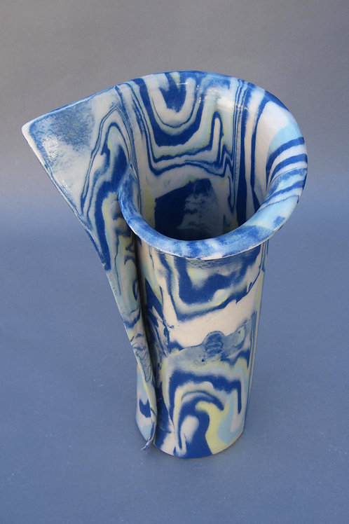 Large Blue, White, Yellow, Robins Egg Vase
