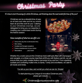 Last minute Christmas Party Planning! The U&I Team are here to help...