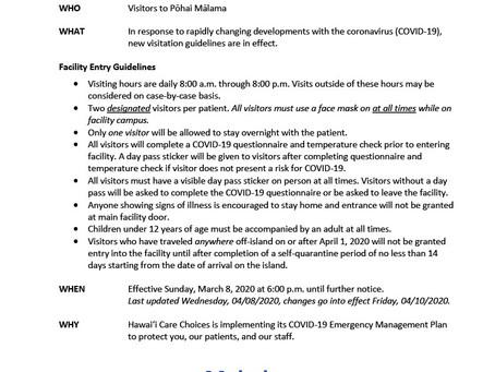 Coronavirus COVID-19 Information from Hawai'i Care Choices