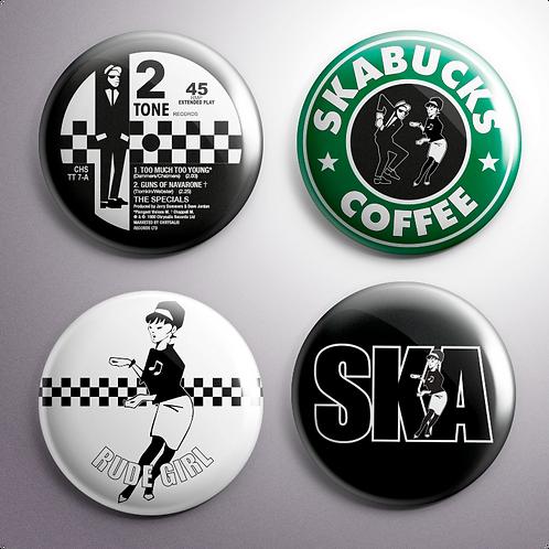 Ska Button Badges x4 (Set 3)