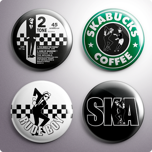 Ska Button Badges x4 (Set 2)
