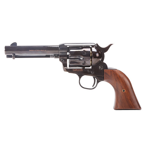 King Arms SAA .45 Peacemaker Airsoft Gas Revolver S 4 inches -Shinny Black