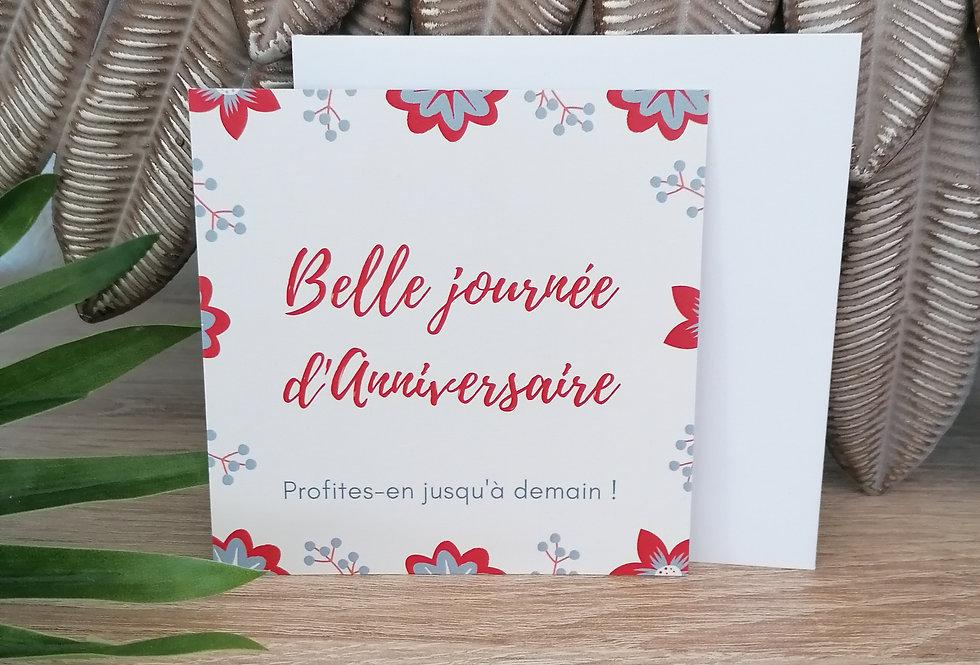 """Carte """"Belle journée d'anniversaire"""" 11x11 cm"""