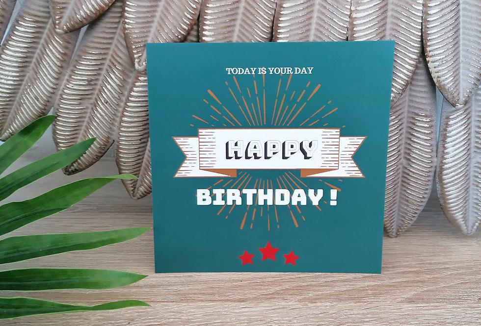 """Carte """"Happy Birthday"""" 13x13 cm"""