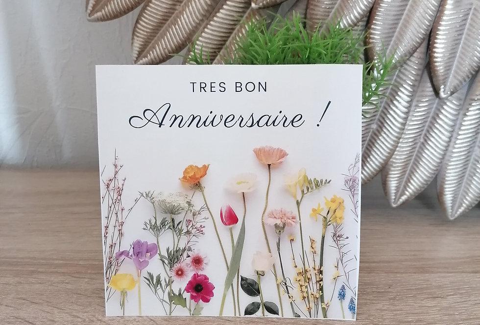 """Carte """"Très bon anniversaire"""" 13x13 cm"""
