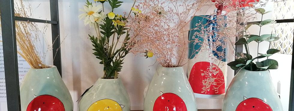 Vase oiseau rouge - H 22 cm