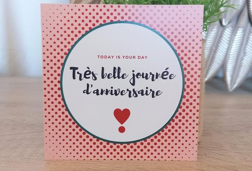 """Carte """"Très belle journée d'anniversaire"""" 11x11 cm"""