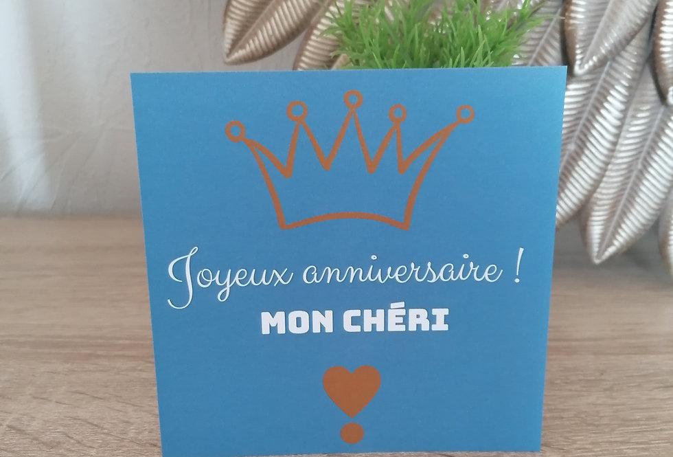 """Carte """"Joyeux anniversaire mon chéri"""" 13x13 cm"""