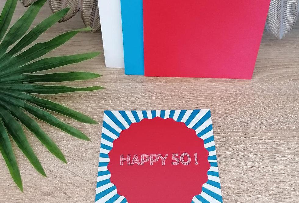 """Carte """"Happy 50"""" 13x13 cm"""