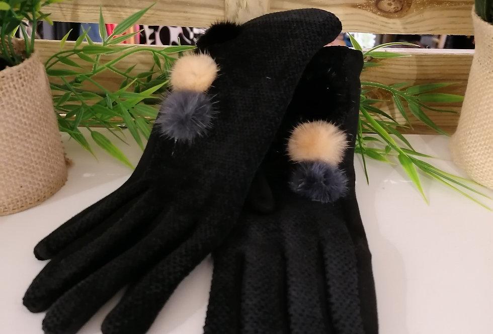 Gants noirs à pompons
