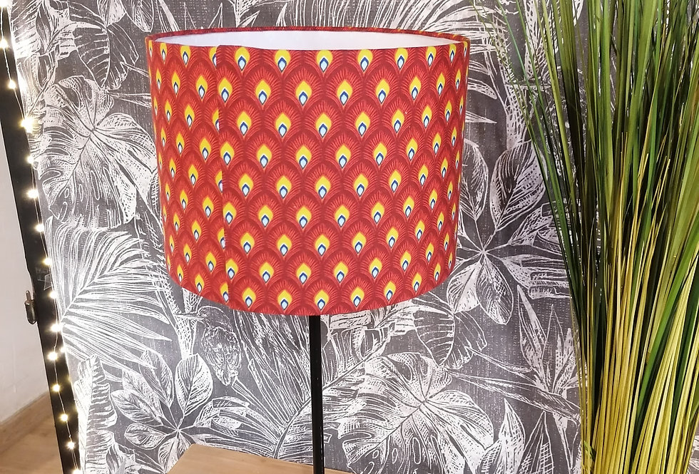 Lampe plumes de paon rouges