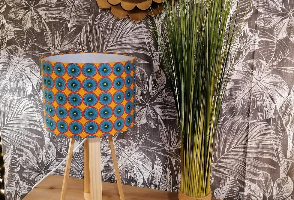 Lampe ronds bleus et fond orange