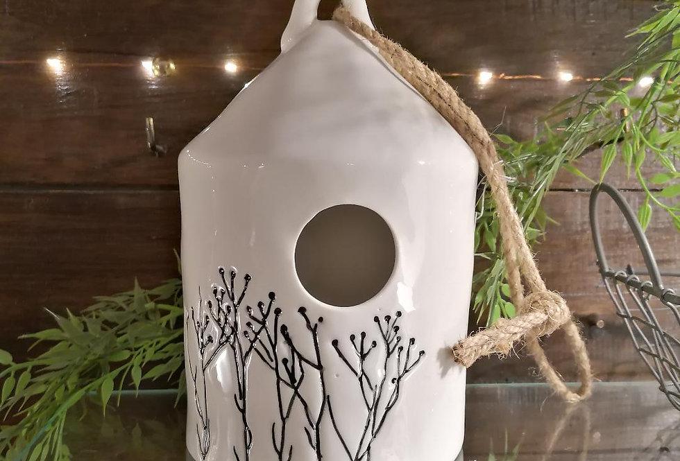 Nichoir en céramique maison pointue