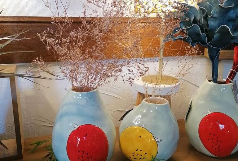 Vase oiseau jaune - H 18 cm