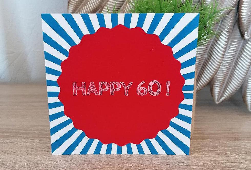 """Carte """"Happy 60"""" 13x13 cm"""
