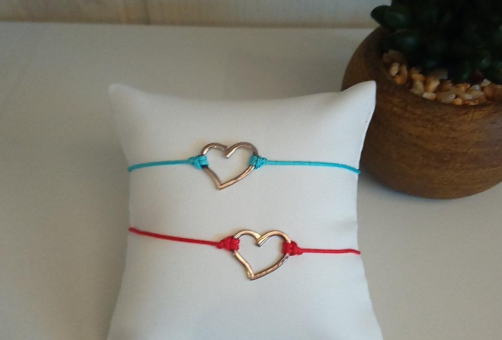 Bracelet macramé cœur argent