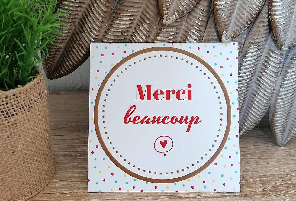 "Carte ""Merci beaucoup"" 11x11cm"