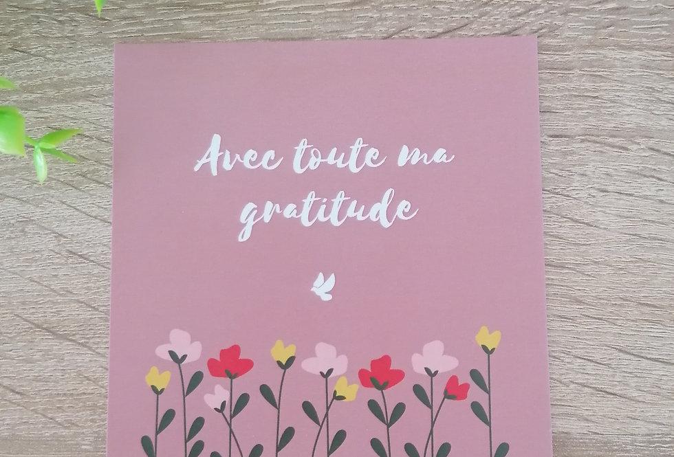 """Carte """"Gratitude"""" 11x11 cm"""