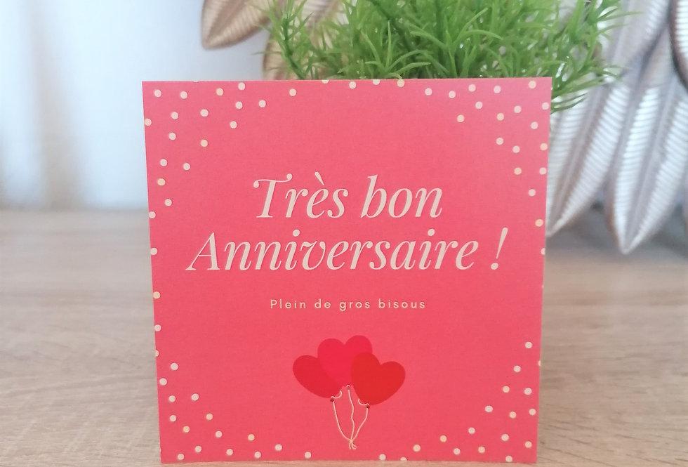 """Carte """"Très bon anniversaire"""" 11x11 cm"""