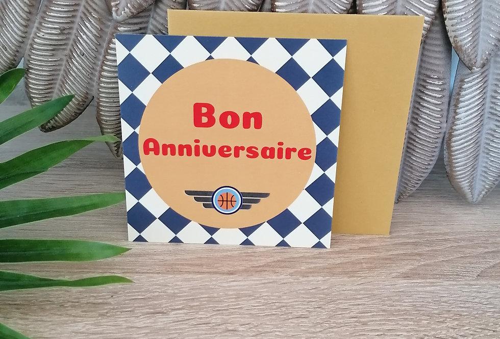 """Carte """"bon anniversaire"""" 11x11cm"""
