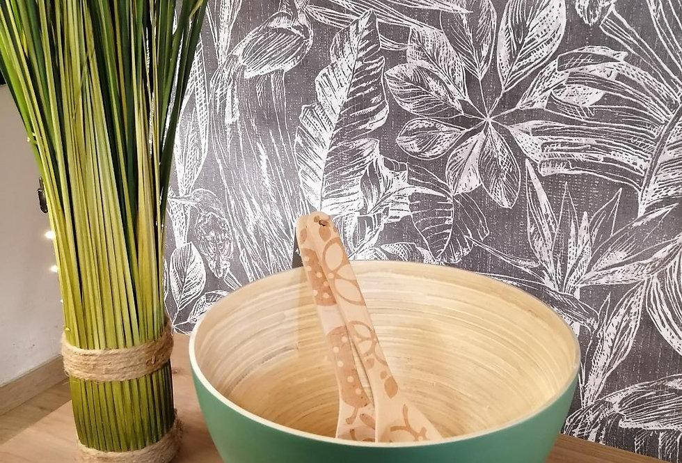 Saladier vert en bambou