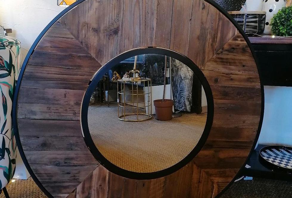 Miroir en bois recyclé (diam 1 m)