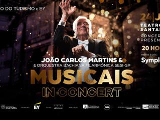 João Carlos Martins recebe Fabi Bang e Jarbas Homem de Mello para o espetáculo Musicais in Concert