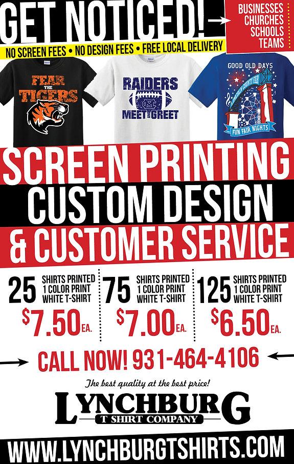 Get Noticed! $6.50 per shirt. Call Now!