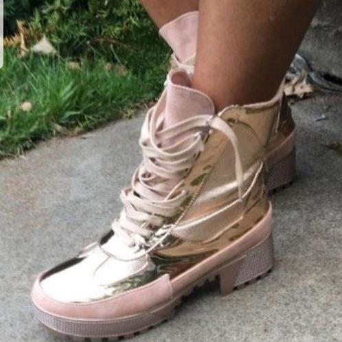 Rose Gold Combat Boots